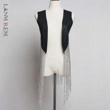 Waistcoat Vest Women Loose Autumn Fashion LANMREM for Hip-Hop Chain Long-Tassels YH48901