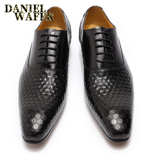 Image 4 - LUXURY BRAND MEN LEATHER SHOES GEOMETRIC PRINTS MEN OFFICE WEDDING FORMAL SHOES BLACK BROWN LACE UP POINTED TOE OXFORD SHOES MEN