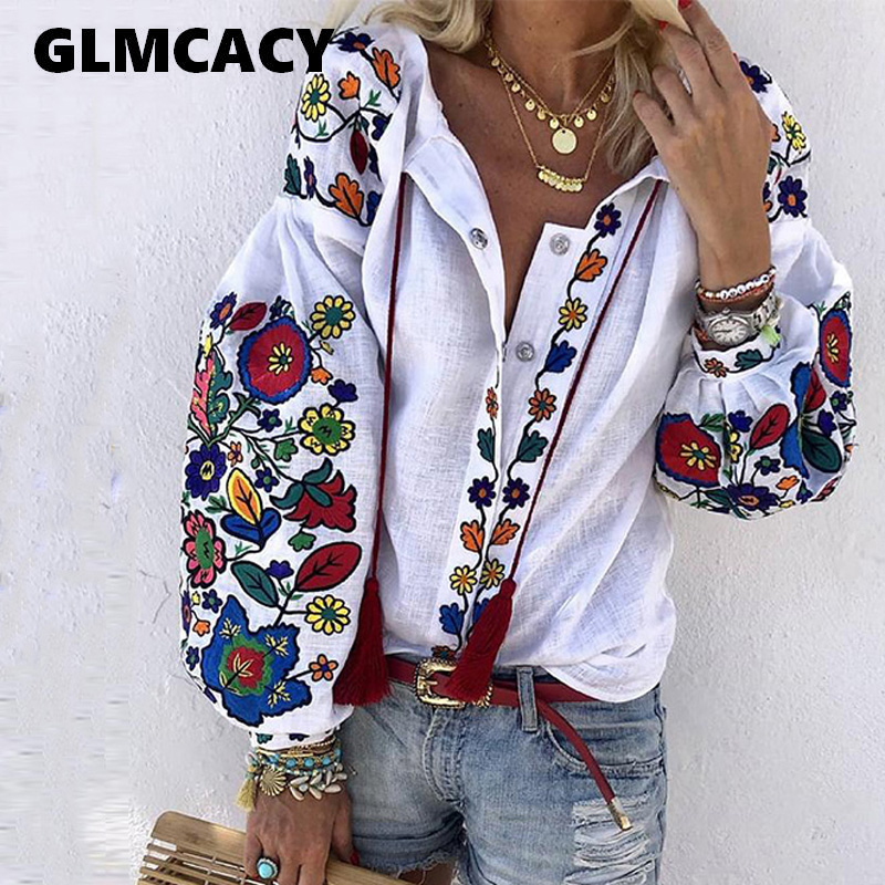 Women Turn Down Collar Boho Long Sleeve Ethnic Floral Printed Blouses Casual Loose Shirt Cotton Linen Tops
