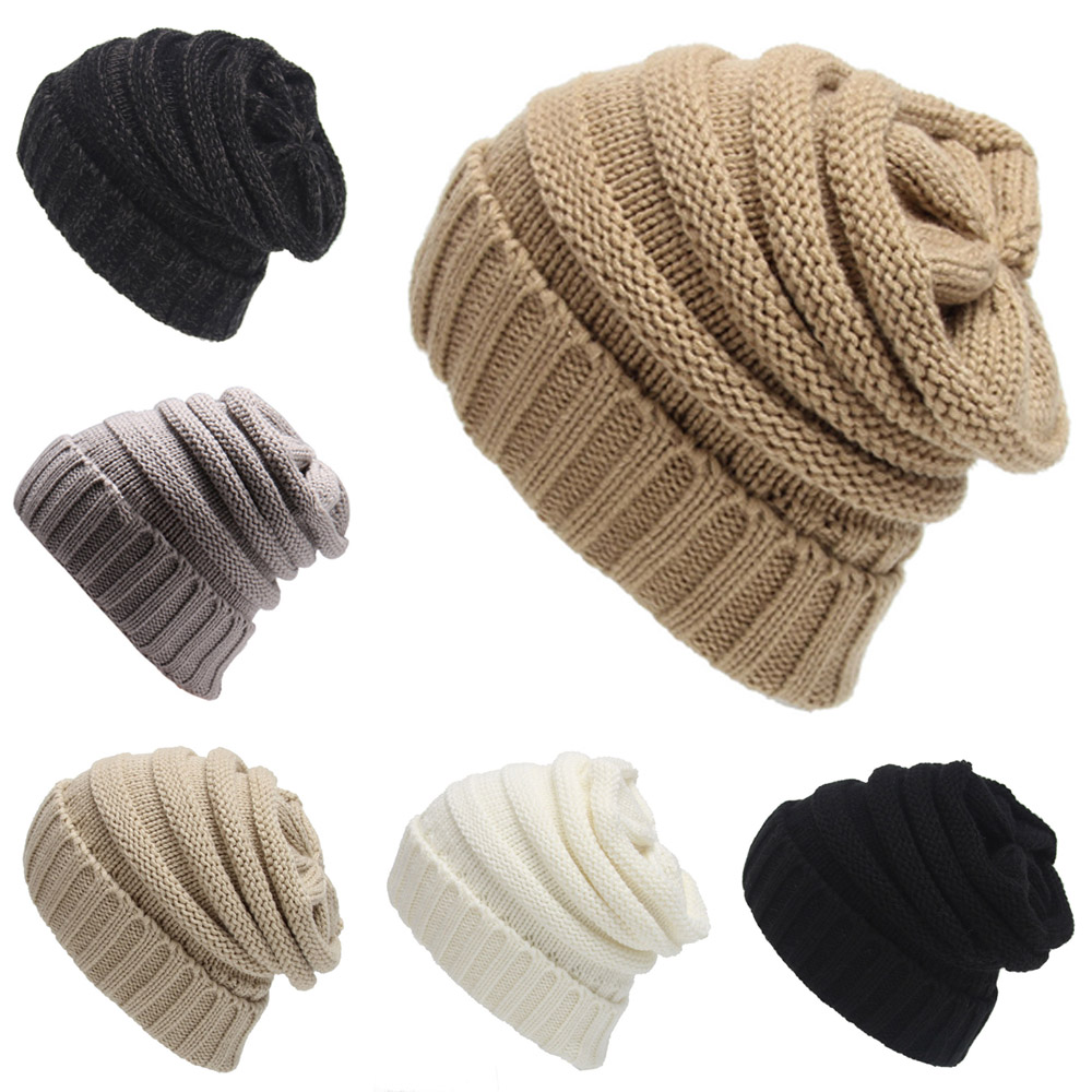 Winter Warm Female Hats Knitted   Skullies     Beanies   Striped Caps Slouchy Hats For Women Man's Caps Unisex Hats Solid Color XL145