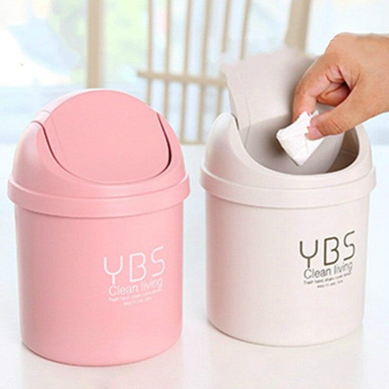 Creative Mini Small Waste Bin Desktop Garbage Basket Home Table Plastic Office Supplies Trash Can Dustbin Sundries Barrel Box|Waste Bins| |  - title=