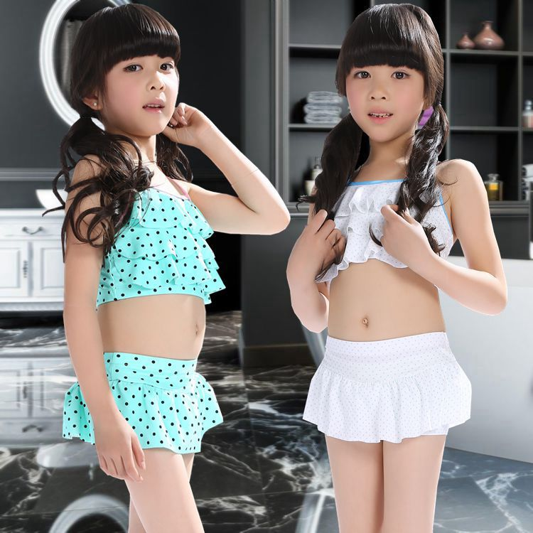 New Style Boxer Skirt Bathing Suit Medium-sized Child Tour Bathing Suit 10-13-Year-Old CHILDREN'S Bikini