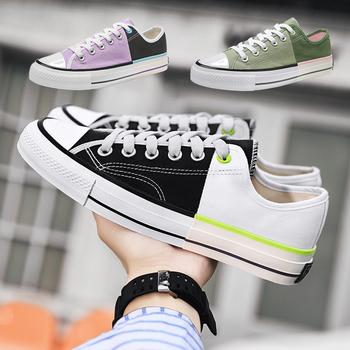 Mieszane kolory płótno mężczyźni trampki mężczyźni kobiety wulkanizowane klasyczne wiązane płaskie buty kobiece klasyczne buty z zaokrąglonym czubkiem damskie buty sportowe tanie i dobre opinie ARLENE CI Szycia Stałe Dla dorosłych NONE Wiosna jesień Lace-up Niska (1 cm-3 cm) Pasuje prawda na wymiar weź swój normalny rozmiar
