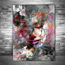 Abstract Girl Wall Paintings Print On Canvas Wall Art Prints Graffiti Art Prints Modern Art Wall Pictures for Living Room Decor