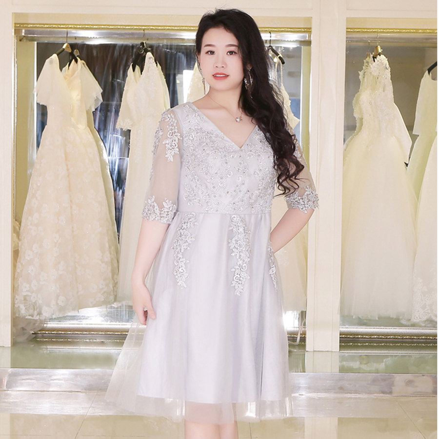 It's Yiiya Prom Dresses V-Neck Knee-Length Plus Size Solid Vestidos De Gala DX030 Half Sleeve Embroidery Prom Dresses 2020