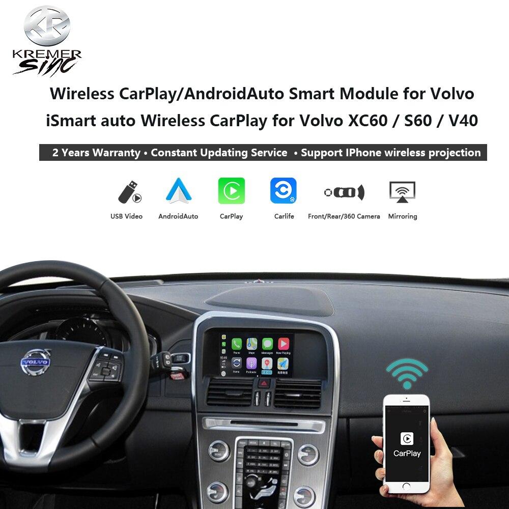 Беспроводная Автомобильная модернизированная коробка CarPlay Android для Volvo iSmart Auto V40 XC70 XC60 S60 V60 V70, микрофон Mirror Link SIRI OEM
