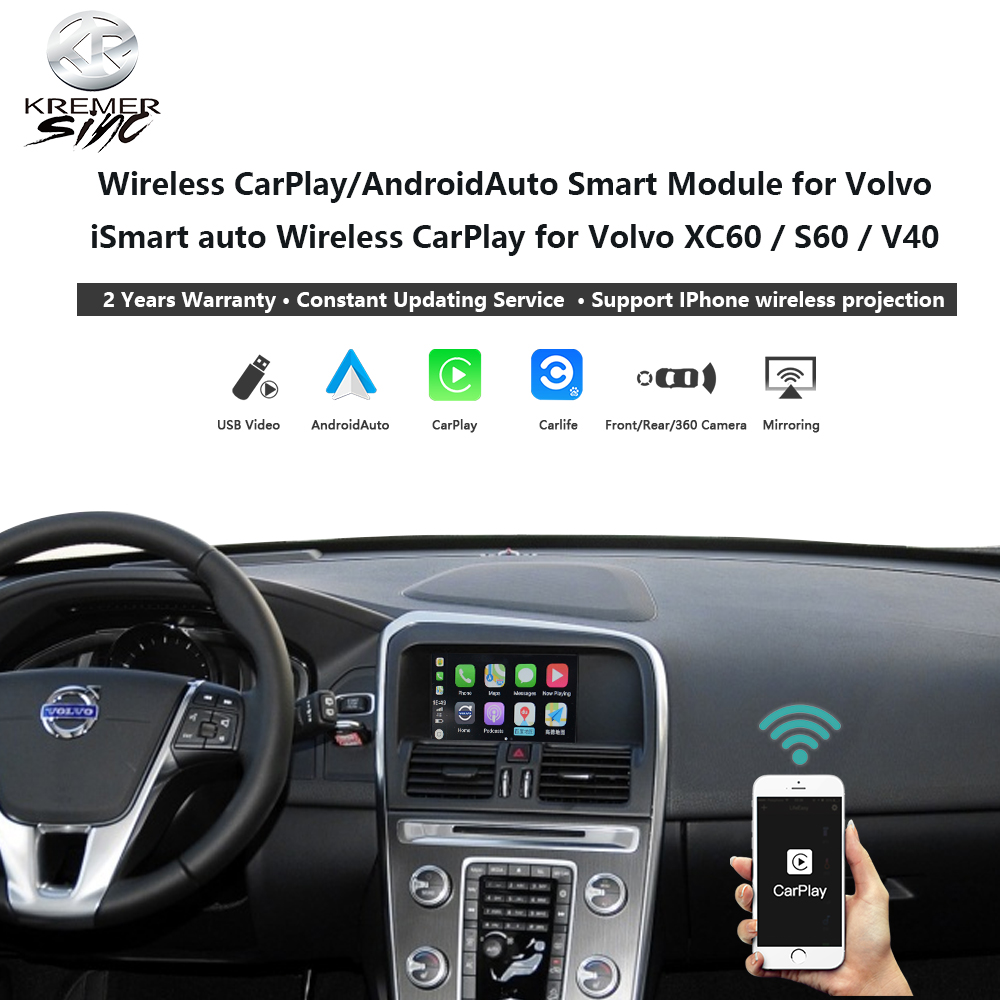 Wireless CarPlay Android Auto Retrofit Box for Volvo iSmart auto for Volvo XC70 XC60 S60 V40 V60 V70 Mirroring Link SIRI