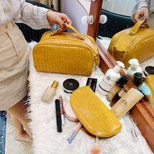 Torby kosmetyczne dla kobiet 2020 nowe luksusowe torebki moda damska toaletowe zestaw małe skórzane kosmetyczka koreański torba o dużej pojemności tanie tanio CN (pochodzenie) 5 9inch Stałe 10 23inch zipper Poduszki 0 5kg Cosmetic Bags Luxury Handbags Toiletry Set Leather Makeup Bag