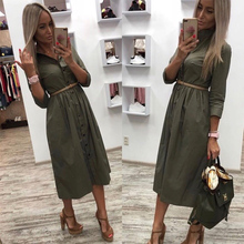 Casual Sashes a Line Women Dress Ladies Long Sleeve Turn Dow