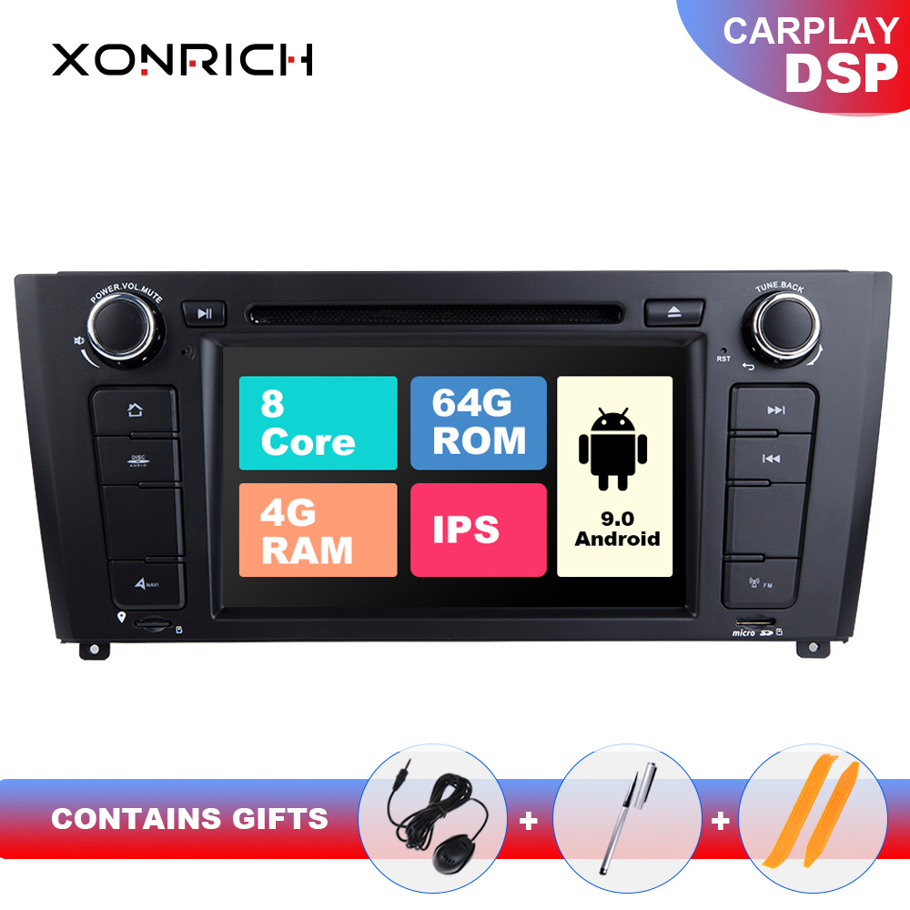 IPS DSP 4GB RAM 64G Qcta Núcleo E87 1 Din Android 9.0 Rádio Do Carro DVD Para BMW BMW série 1 E88 E82 E81 I20 Navegação GPS Multimídia