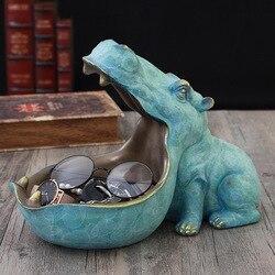 3D Hipopótamo Estátua Escultura Casa Acessórios de Decoração Caixa de Armazenamento de Mesa Decoração de Casa Estatueta Ornamento Decorações da Festa de Casamento
