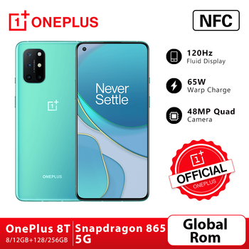World Premiere OnePlus 8T 8 T 8GB 128GB Snapdragon 865 5G Smartphone 120Hz AMOLED Fluid Screen 48MP Quad Cams 4500mAh 65W Warp