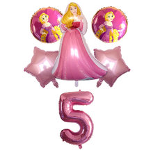 6pc New Cinderella Snow White Princess balloons Aurora Ariel Belle Tiana Anna globos Baby girl birthday Party shower supply toys(China)