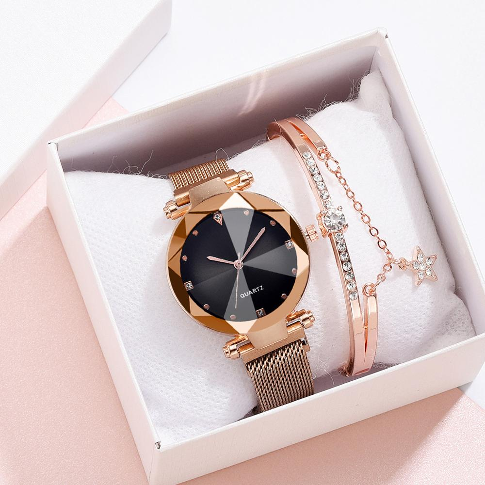 Starry Sky Watch Women Magnetic Quartz Watch Bracelet Set Luxury Diamond Ladies Rose Gold Wristwatches Waterproof Clock Female