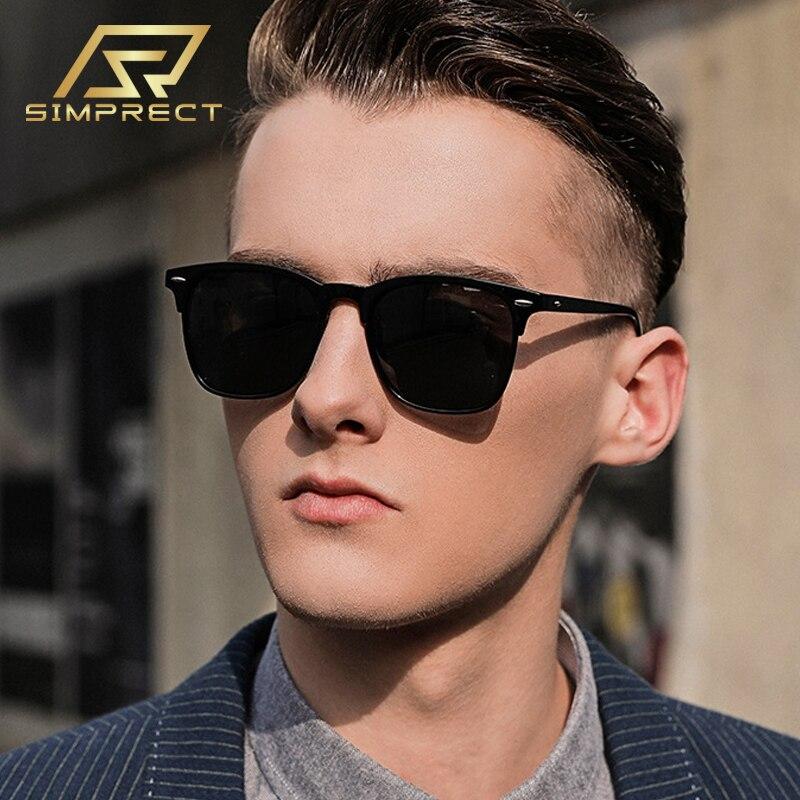 Мужские поляризационные солнцезащитные очки SIMPRECT, винтажные зеркальные Квадратные Солнцезащитные очки с антибликовым покрытием, солнцеза...