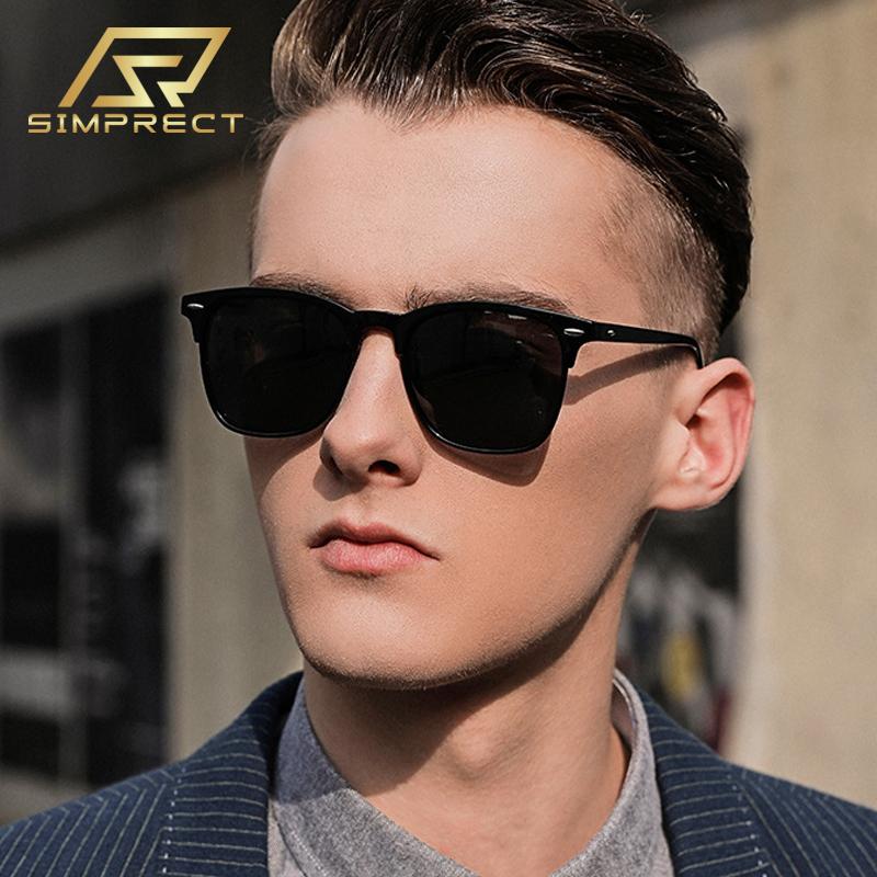 SIMPRECT Polarized Sunglasses Men 2021 Retro Mirror Square Sunglasses Vintage Anti Glare Driver's Sun Glasses For Men Oculos