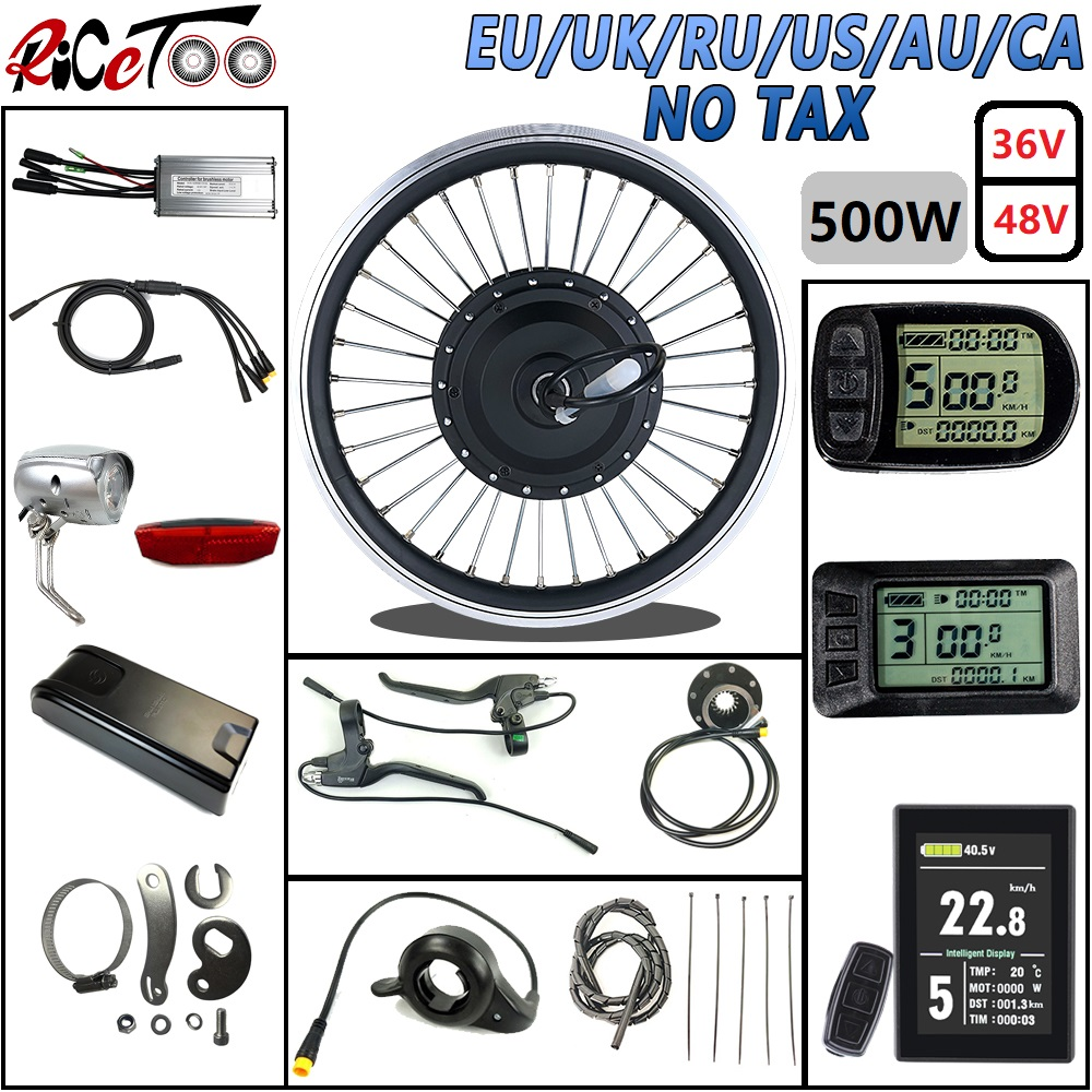 RICETOO Electric Snow Ebike Conversion Kits 48V 1500W BLDC Fat Tire Rear Rotate Hub Motor Wheel with LCD3 Display.