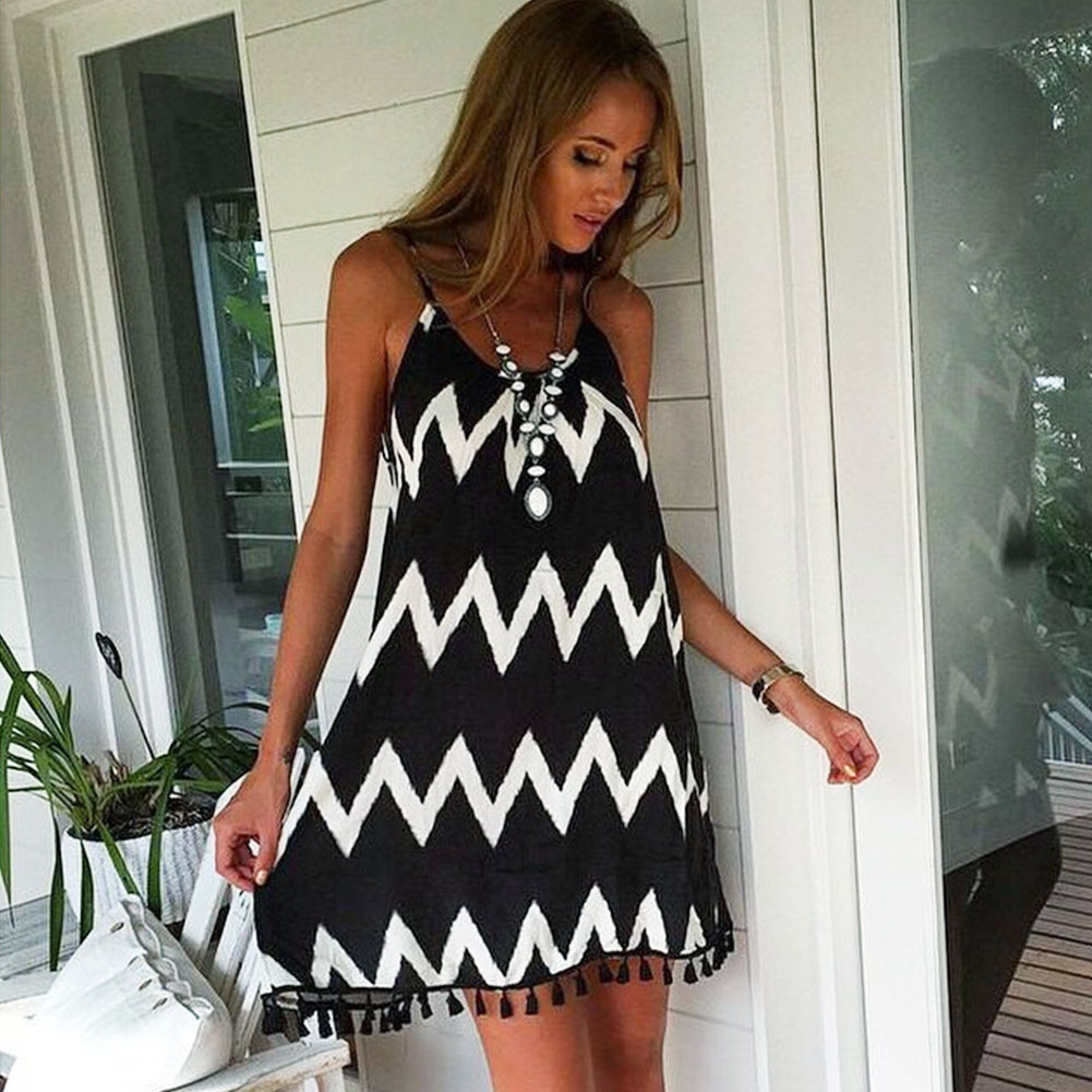 <font><b>Summer</b></font> <font><b>Women</b></font> Loose <font><b>Dress</b></font> <font><b>Sexy</b></font> Backless V-neck <font><b>Beach</b></font> <font><b>Dresses</b></font> <font><b>Fashion</b></font> Sleeveless Spaghetti Strap Wavy Stripe Casual Mini Sundress image