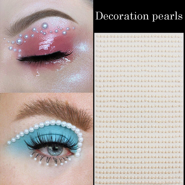 3D Eyes Face Temporary Tattoo White Pearl Dots Beauty DIY Body Art Decorations Festival Makeup Tools Nail Rhinestones Gems