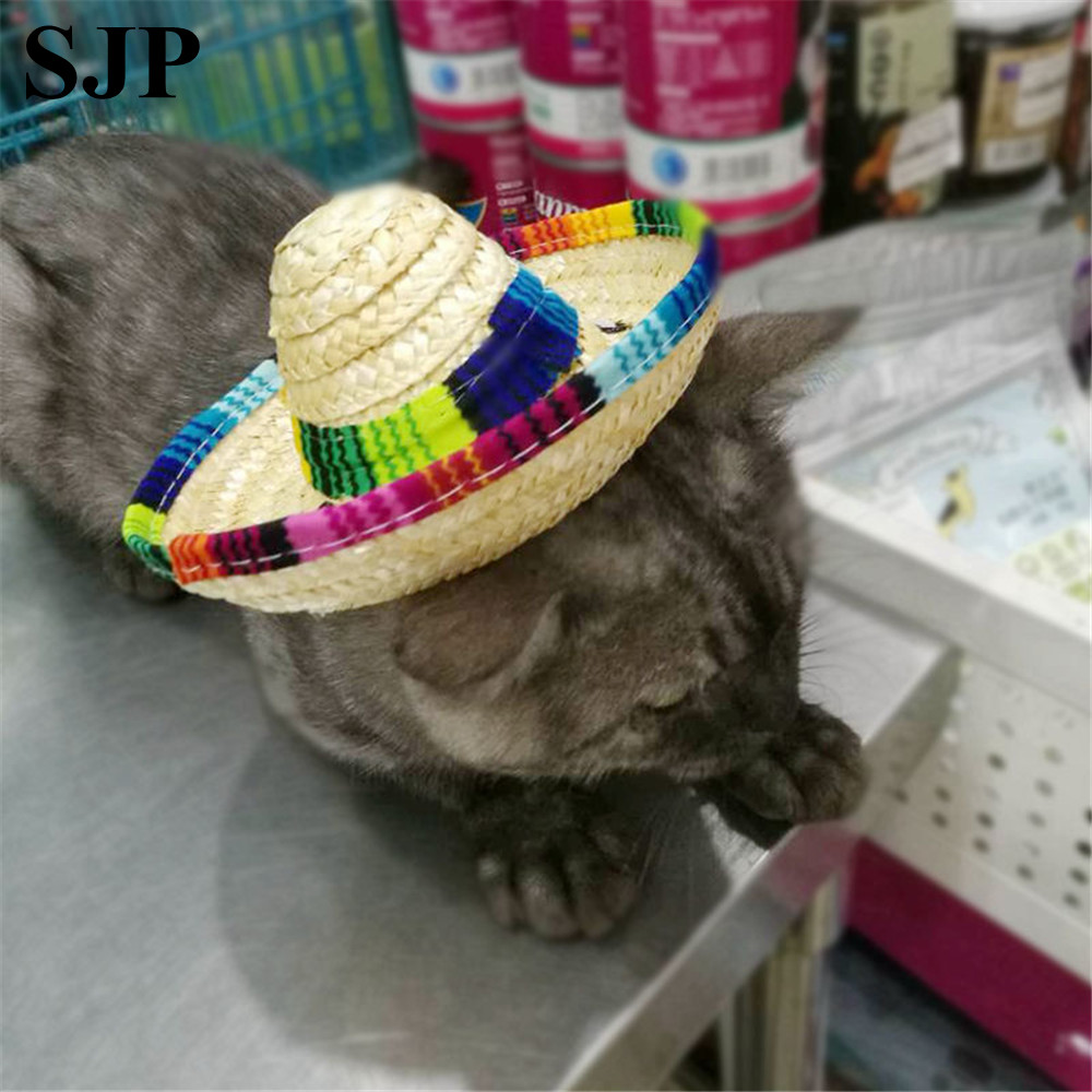 Pet Supplies Straw Mini Dog Hat Mexican Cat Sunhat Accessories Funny Hats For