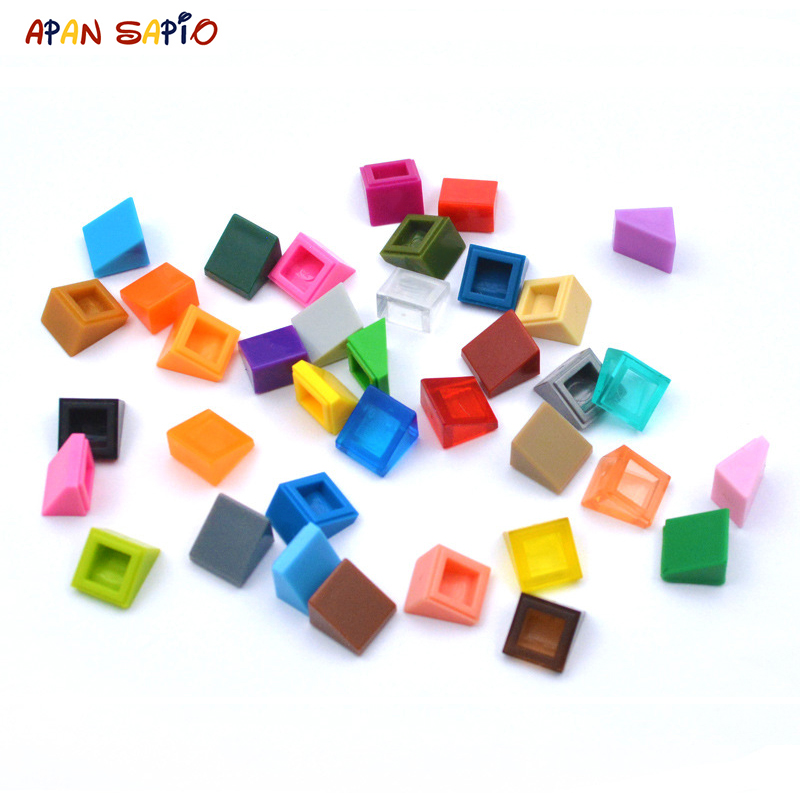 100pcs DIY Building Blocks Figure Smooth Bevel Bricks 1x1 Educational Creative Size Compatible With 54200 Toys for Children