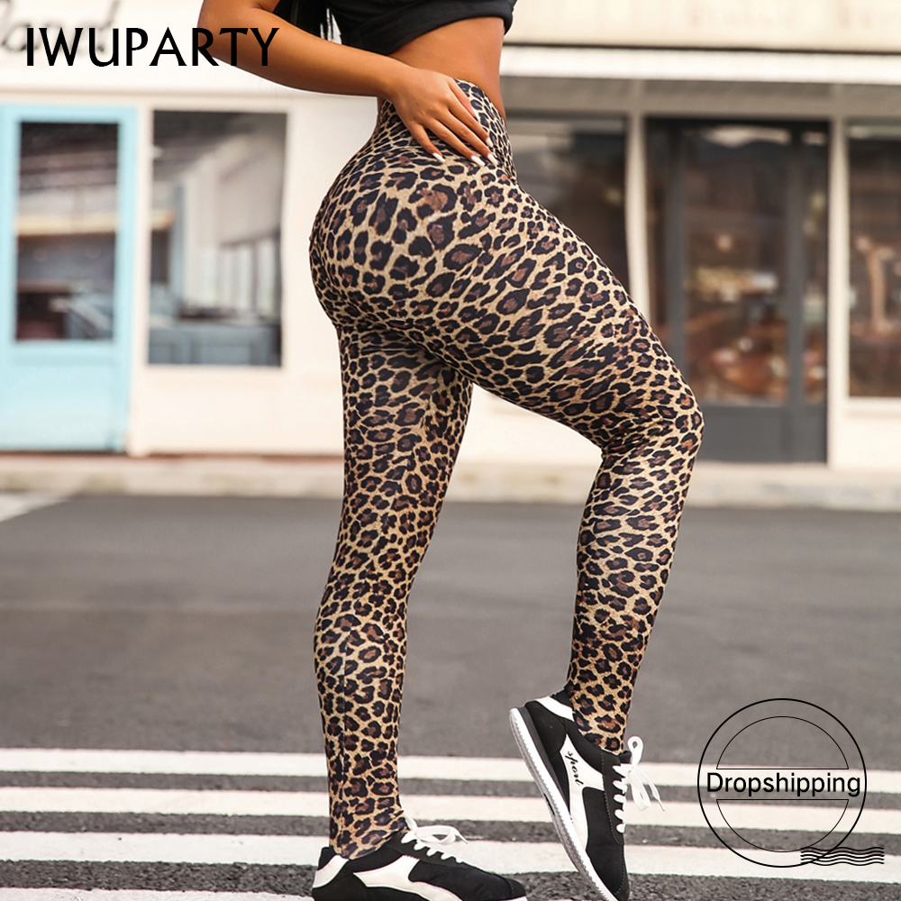 Fashion Sexy Leopard Gym Fitness Leggings Women Sports High Waist Workout Leggins Push Up Printed Pants Stretchy Booty Jogging