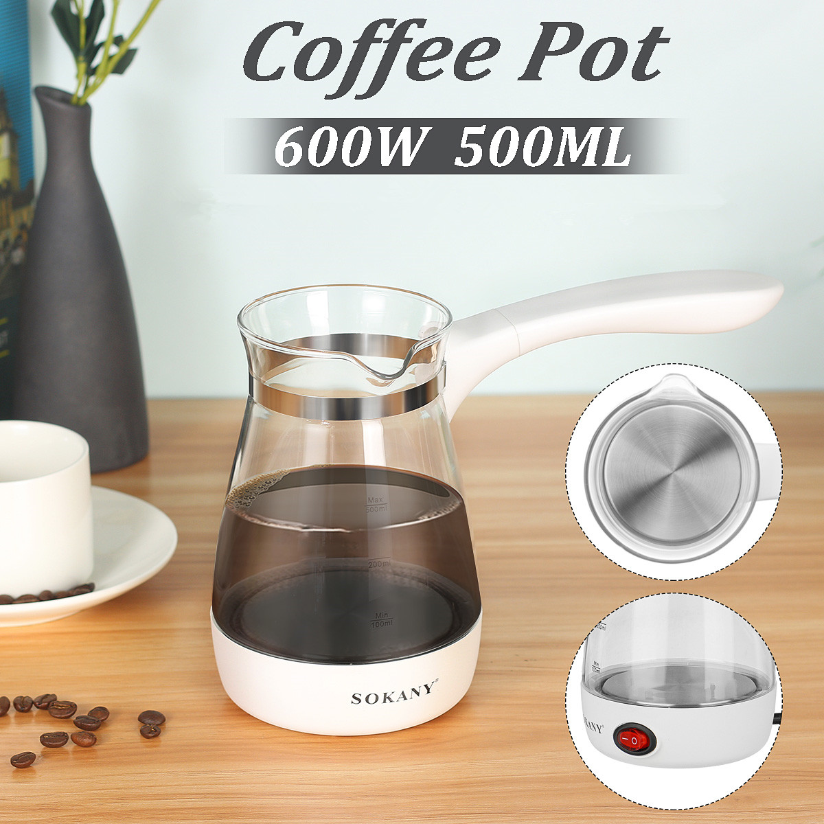 500ml Coffee Maker Pot Home Electrical Turkish Greek Coffee Kettle Portable EU Plug Clear Glass + Stainless Steel Heat Resistant