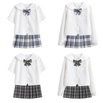 Woman School Uniforms  Student Sailor Cosplay Costume Japanese Short Sleeve JK Suit Girls Pleated Skirt Mangas Anime Sapporo anime lovelive card sr minami kotori cheerleading uniforms cosplay costume girls school cheerleading uniforms stocking gloves
