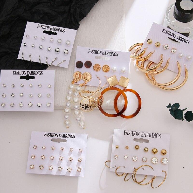 FNIO büyük Metal çember küpe moda Hip hop altın ve gümüş renk küpe seti serin kızlar bildirimi Brincos geometrik takı