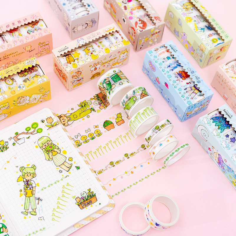 Girl Daily Life Series Bullet Journal Washi Tape Set Cute Decorative Adhesive Tape DIY Scrapbooking Sticker Label Stationery