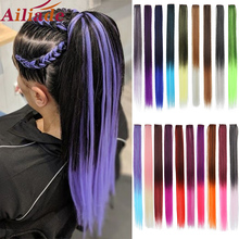 Hair-Extensions Rainbow-Colors One-Piece Two-Tone Heat-Resistant Clip-In AILIADE Straight