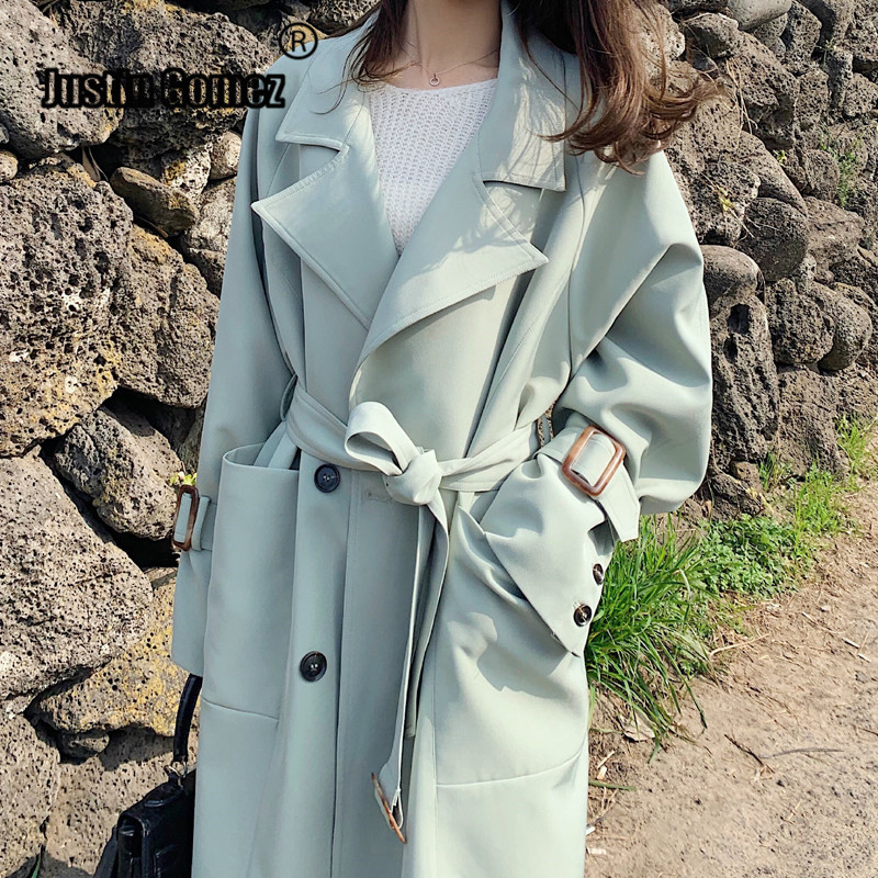 Windwear Female Classical Double Breasted   Trench   Korean Loose Autumn Winter Solid Color Sashes Overcoat Long Coat Woman