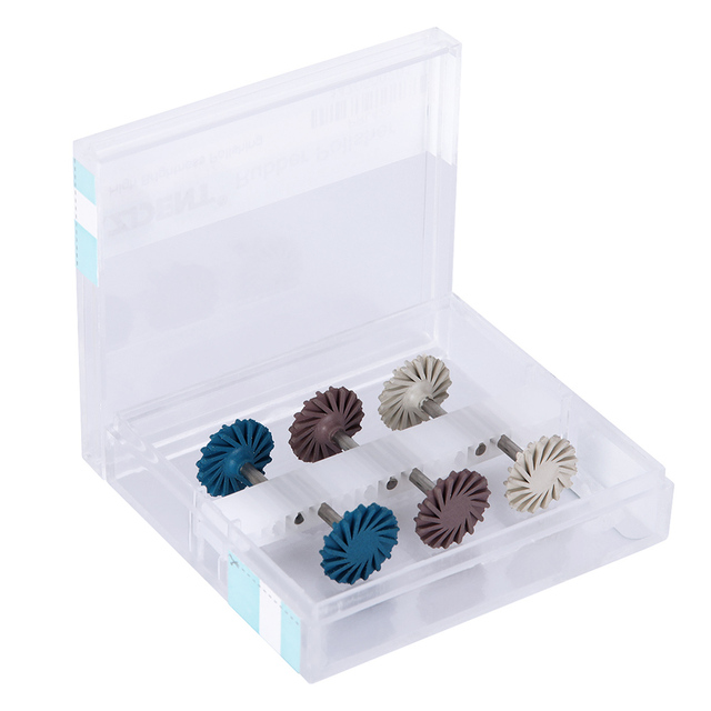 6pcs/set Dental Composite Resin Polishing Disc Kit Spiral Flex Brush Burs Diamond System RA disc 14mm wheel 2