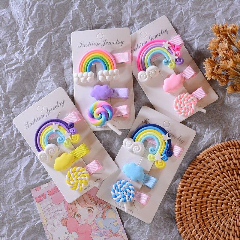 3pc/set Rainbow Hairpins Kids Cute Girl Cartoon Bobby Pin Hair Clips for Girls Children Headband Kids Hair Accessories Scrunchie