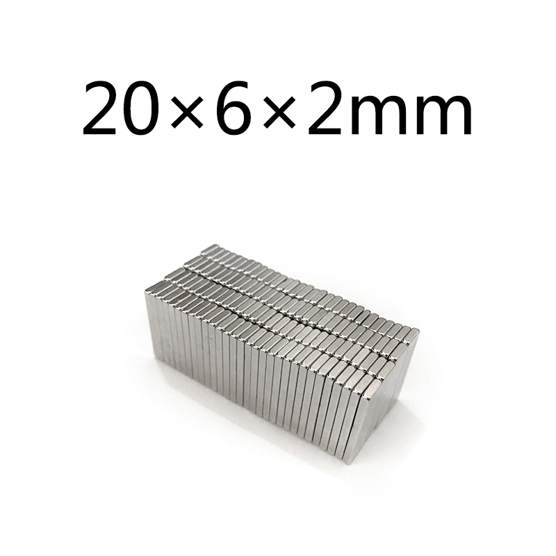 20/50/100pcs Strong 20x6x2 N35 Magnet 20mm x 6mm x 2mm Square Rare Earth Square Permanent Neodymium Magnets 20*6*2 image