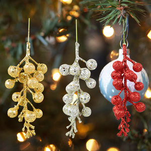 3pcs Glitter Artificial Cherry Berry Christmas Tree Decorations For Home DIY Fake Flowers Xmas Party New Year Hanging Ornaments