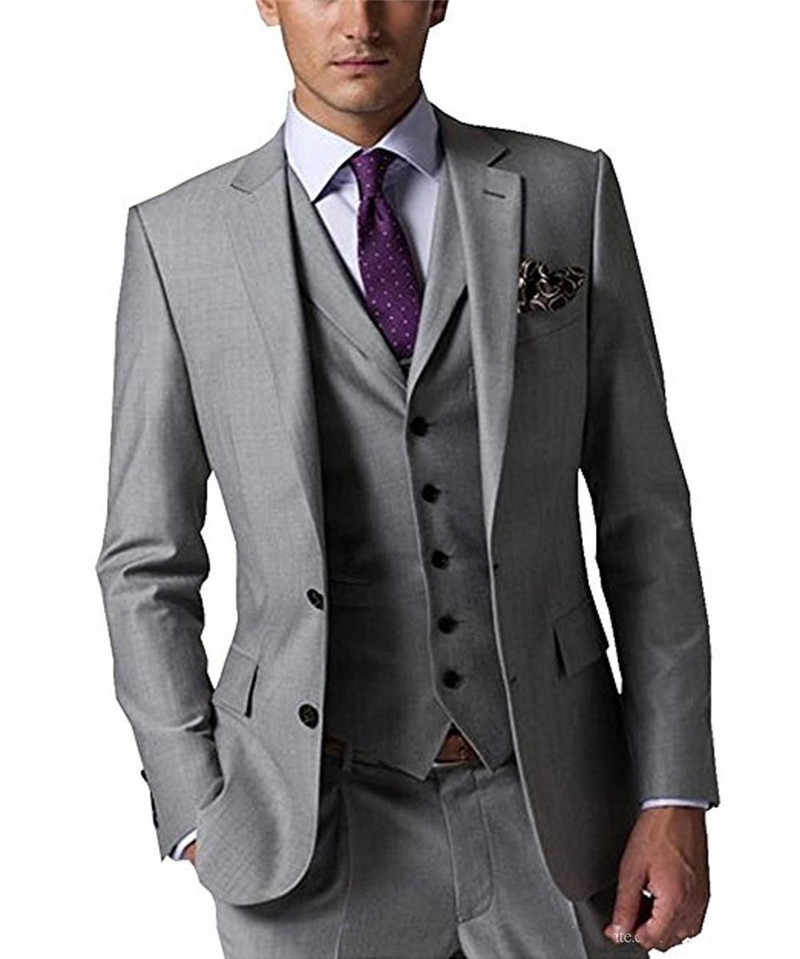 Custom Made Bruidegom Smokings Light Grey Bruidsjonkers Custom Made Side Vent Pak Bruiloft/Men Suits Bruidegom (Jasje + broek + Tie + Vest)