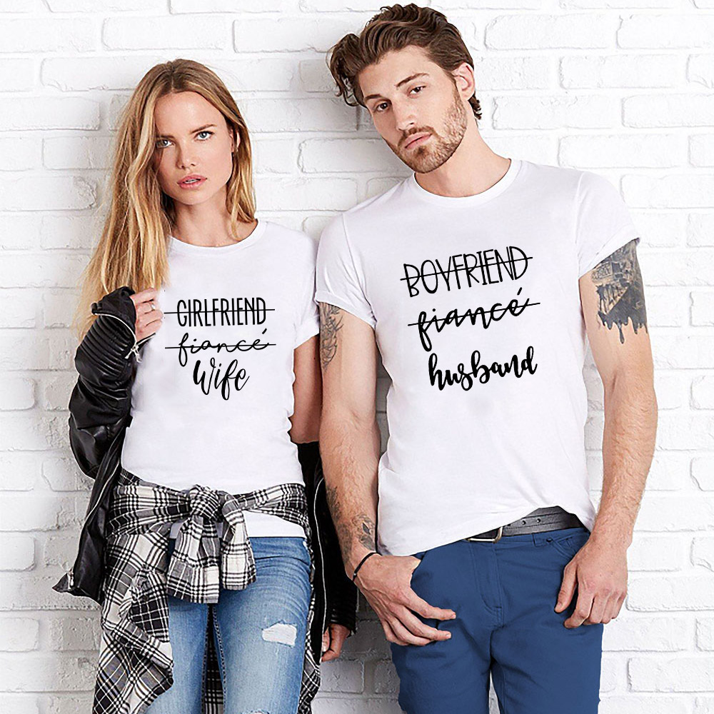 Fashion Couples T Shirts Girlfriend Boyfriend Fiancee Shirt Matching Streetwear Wedding Gift Anniversary Gift Love T Shirts
