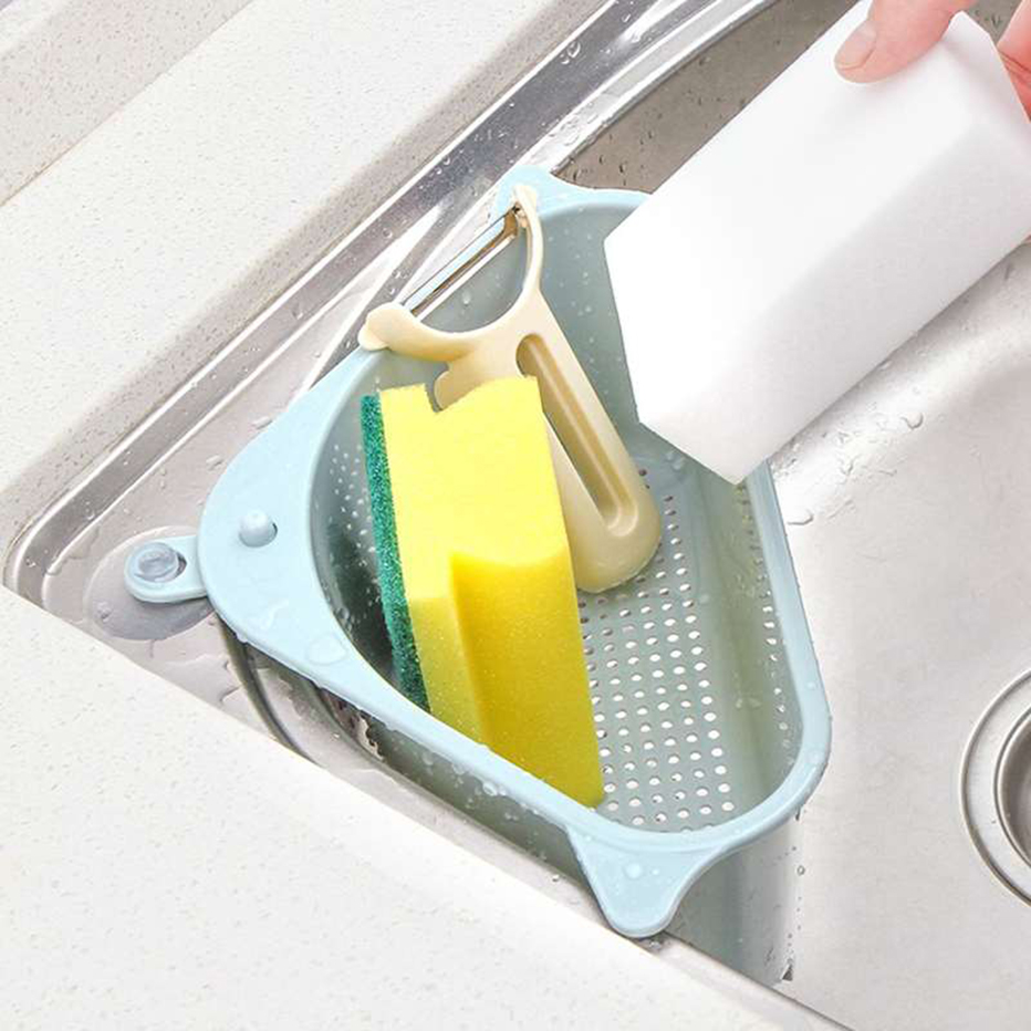 Kitchen Sink Strainer Vegetable Fruit Drain Basket Suction Cup Sink Corner Storage Sponge Towel Holder Rack Kitchen Sink Filter