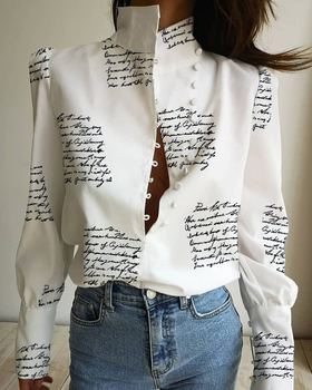 2020 Women Stylish Leisure White Blouse Long Sleeve Casual Top Stand Neck Letter Print Buttoned Shirt stylish long sleeve self tie denim blouse for women