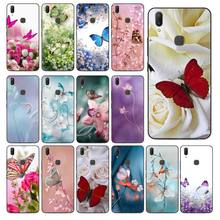 Red Butterfly On White Roses Flower Phone case For Vivo Y83 Y85 V9 Y95 Y91 Y91i Y97 V5 V5S V7 PLUS V11 V11 Pro V11I Cover(China)
