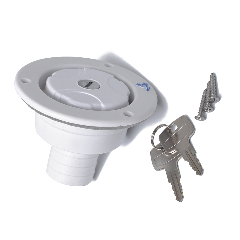 White Round White Gravity Freshwater Filled Hatch Entry PP Plastic And Lock Replacement For RV Trailer