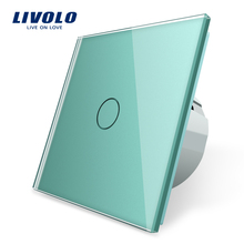 Livolo EU 標準ウォールライトタッチスイッチ、壁ホームスイッチ、クリスタルガラススイッチパネル、 220 250V 、 corss 、調光器、ワイヤレス、カーテン