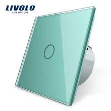 Livolo EU Standard Wand Licht Touch Schalter, Wand hause schalter, Kristall Glas Switch Panel, 220 250 V, corss, dimmer, wireless, vorhang