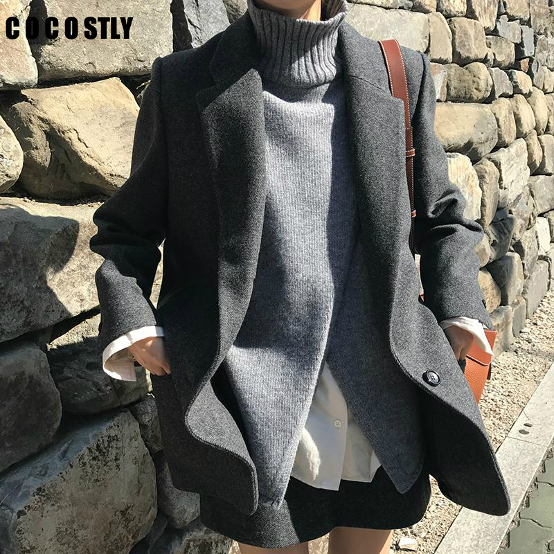 Korean Fashion Wool Suit For Woman Outwear Vintage Casual Slim Women Blazers And Jackets Wool Long Sleeve Blazers Working Wear