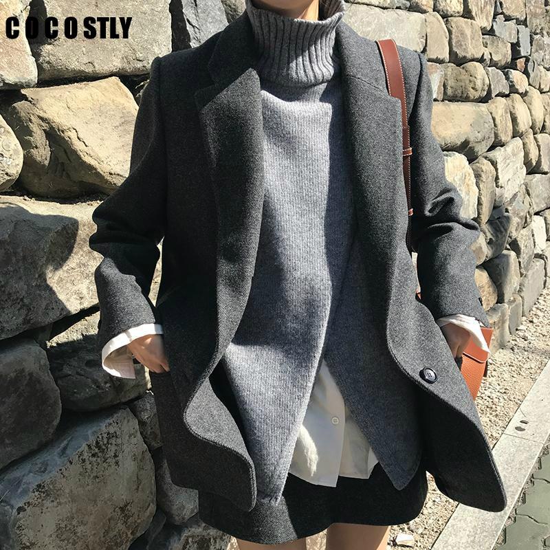 Korean Fashion Wool Suit For Woman Outwear Vintage Casual Slim Women Blazers And Jackets Wool Long Sleeve Blazers Working Wear