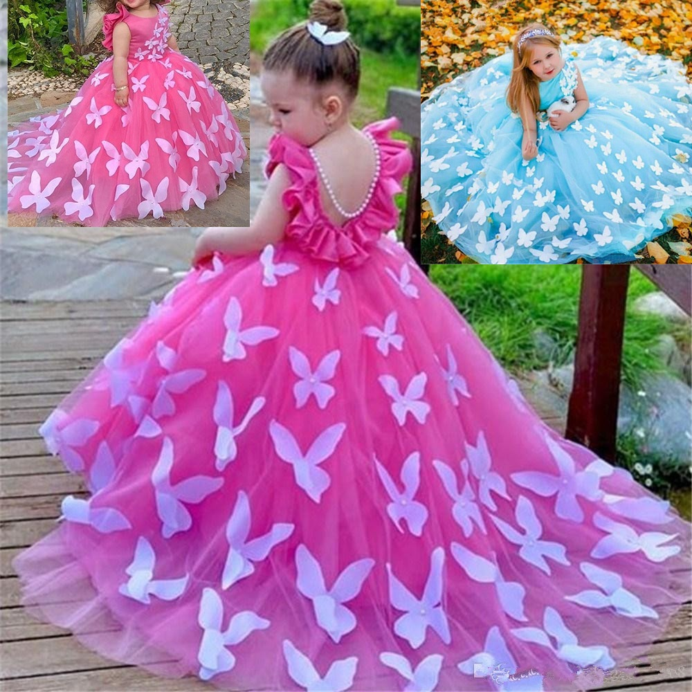 Butterfly PearlsFlower Girl Dresses For Wedding Elegant Birthday Dress Short Sleeve Ball Gown TUTU Cute Princess Kids Gown