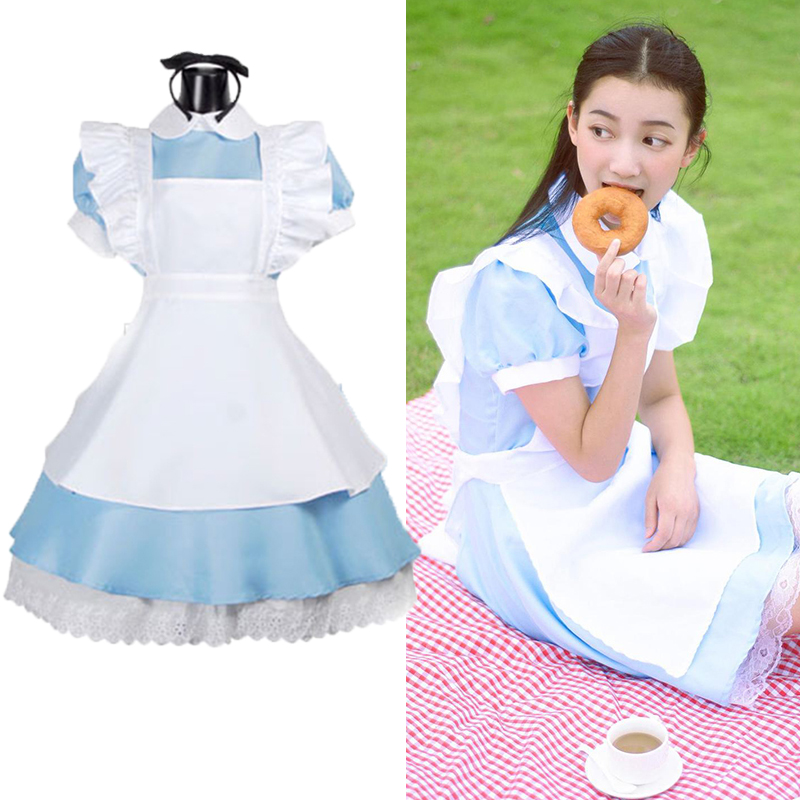 Women Costume Alice Outfit Maid Dress Up Lolita Cosplay Alice In Wonderland Sissy Halloween Party Dresses for Kids Girls E24A33
