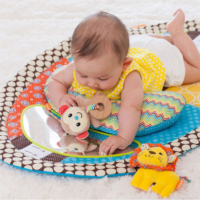 0-2 Years Portable Baby Bed Colorful Game Blanket With Mirror Pillow Toy Soft Comfortable Children's Bed Infantil Crib Nest Cot