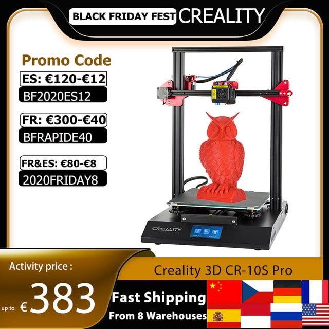 CREALITY CR 10S Pro 업그레이드 된 자동 레벨링 3D 프린터 DIY 자체 조립 키트 300*300*400mm 대형 인쇄 크기